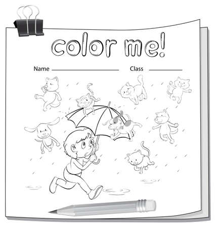 raining: A worksheet with cats and dogs on a white background