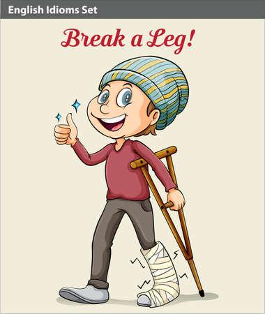 idiom: An idiom showing a boy with a broken leg Illustration