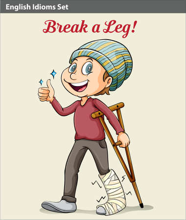 An idiom showing a boy with a broken leg Illustration