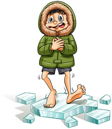 literal: An idiom showing a boy getting a cold feet on a white background Illustration