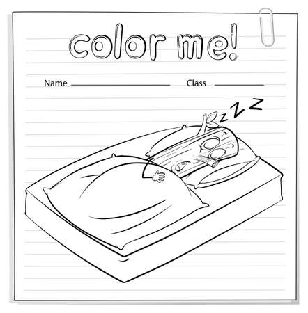 log book: A color me worksheet with a log sleeping on a white background