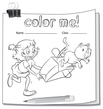 sides: A worksheet with a girl and a cat on a white background Illustration