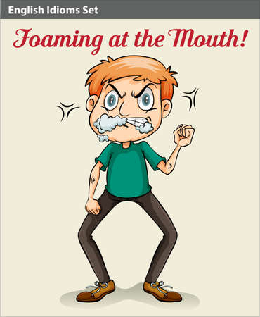 talkative: An idiom showing a man with a foam in his mouth Illustration