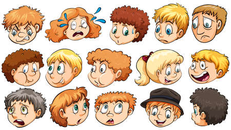 Set of the different facial expressions on a white background Vector