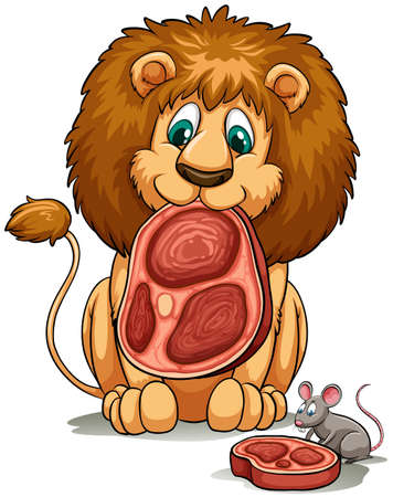 figurative: A lion sharing his food idiom on a white background