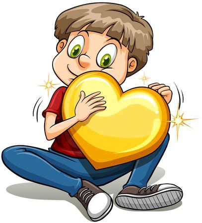 generoso: Un niño con un corazón de oro sobre un fondo blanco