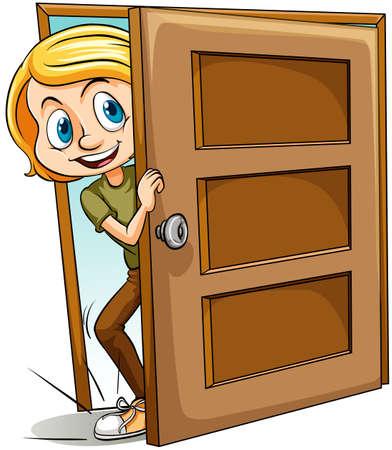 pied jeune fille: Mettre le pied sur l'idiome de la porte sur un fond blanc