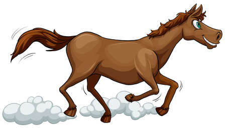 subspecies: Running horse on a white background
