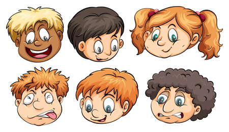 naughty boy: Six heads with different emotions on a white background