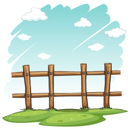 A wooden fence at the backyard on a white background Illustration