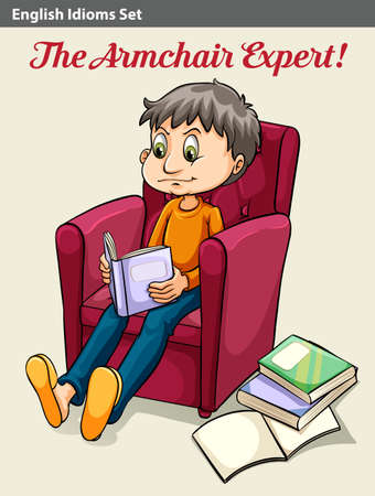 An idiom showing the armchair expert Illustration