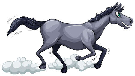 animalia: A gray horse running on a white background