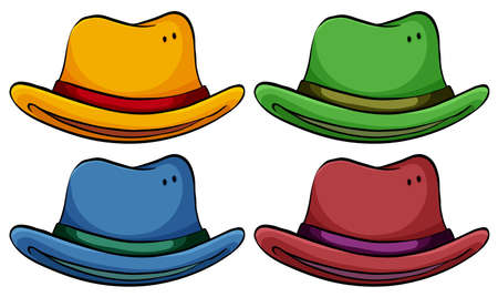 green tophat: Set of colourful hats on a white background