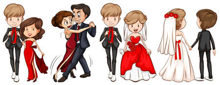 formal wear: A group of couples on a white background Illustration