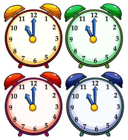 elapsed: Set of four colourful clocks on a white background Illustration