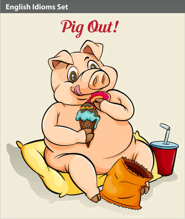 A pigging out idiom Vector