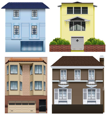 house building: Set of different building designs on a white background Illustration