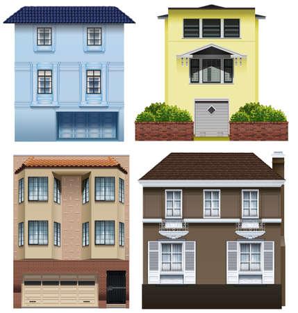 establishments: Set of different building designs on a white background Illustration