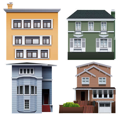 sheltering: Four different buildings on a white background Illustration