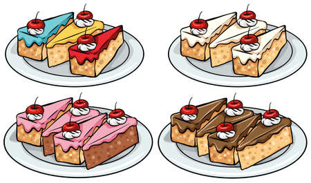 白い背景の上にケーキのセット