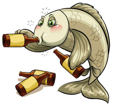 白い背景の上の酔った魚