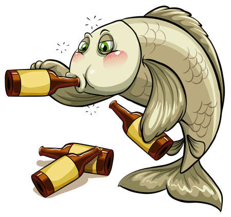aquatic animal: A drunk fish on a white background