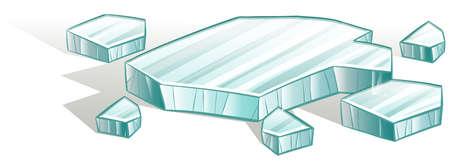hardened: Broken icecubes on a white background Illustration