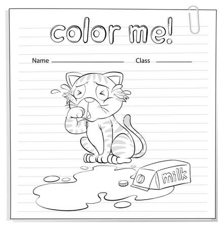 spilt: A coloring worksheet with a cat crying on a white background