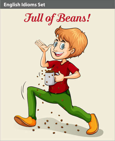 meaning: A man full of beans idiom