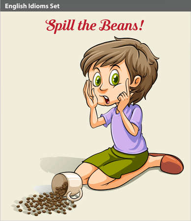 spilling: A girl spilling the beans idiom Illustration
