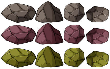 A group of rocks on a white background