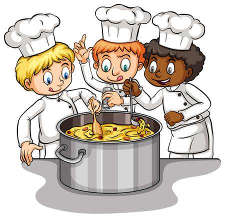 spoil: Too many cooks spoil the brotth Illustration