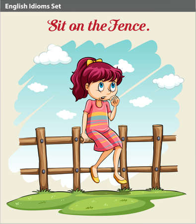 figurative: A poster showing an idiom about a girl sitting on the fence