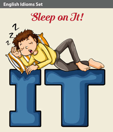 idiom: An idiom showing a man sleeping on it Illustration