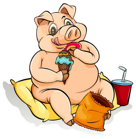 Fat pig eating lots of food Illustration