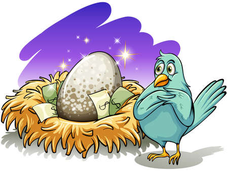 bipedal: A bird beside the nest with an egg on a white background