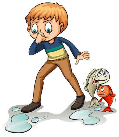 fishy: A fishy idiom on a white background Illustration