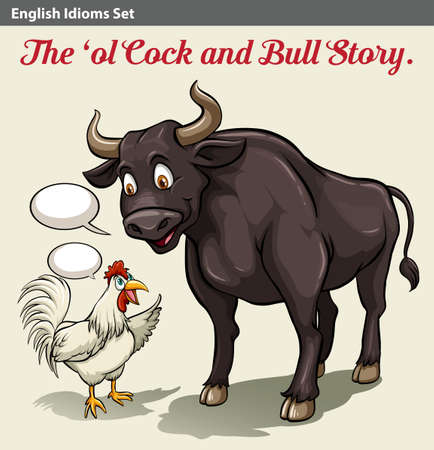idiom: A poster showing a cock and a bull idiom Illustration