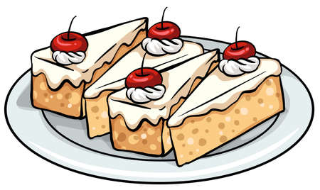 sweetened: A plate with four slices of cakes on a white background