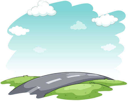 figurative: An image showing the hitting the road idiom on a white background