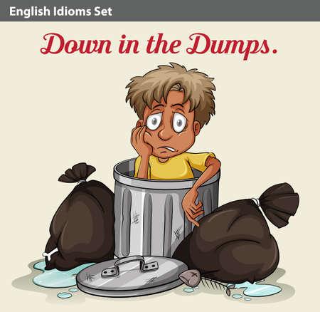 problematic: An idiom showing a trashbin with a boy Illustration