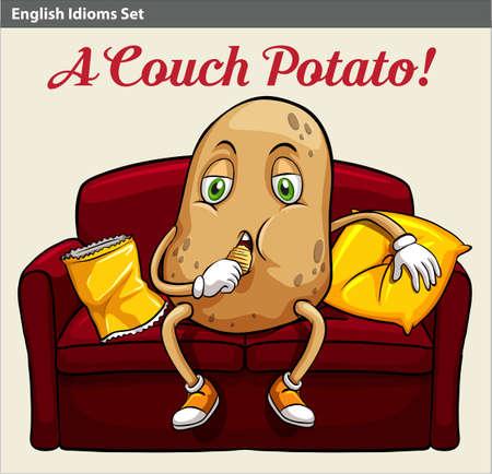 idiom: A couch potato idiom Illustration