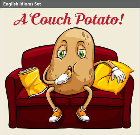 A couch potato idiom Illustration