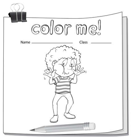 workbook: A worksheet with a young boy on a white background Illustration