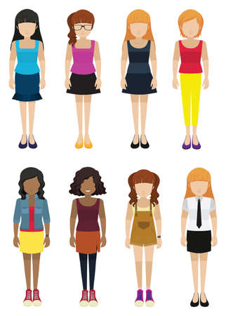 faceless: Eight faceless ladies on a white background