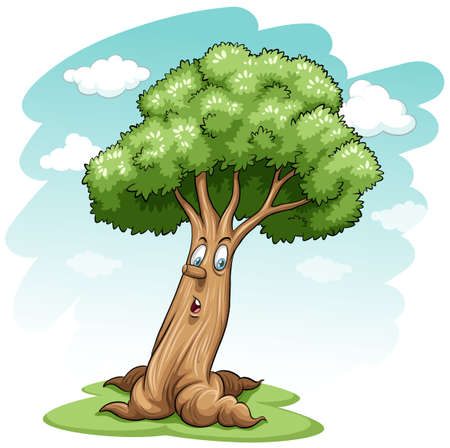A big tree with a face on a white background