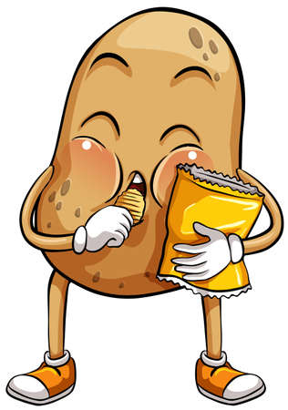 couch potato: An idiom showing a big potato on a white background