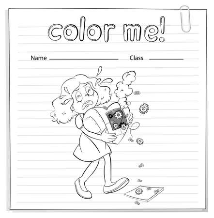 A worksheet with a girl carrying a broken heart on a white background Vector
