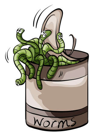 A can of worms idiom on a white background Vector