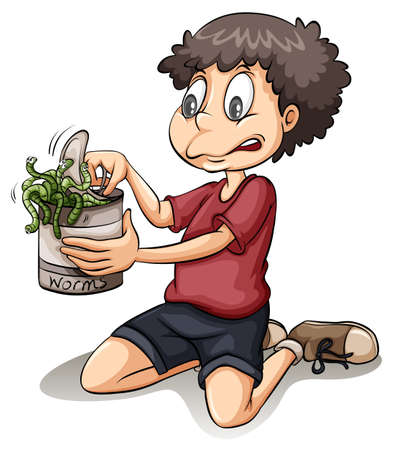 Boy holding a can of worms on a white background Vector
